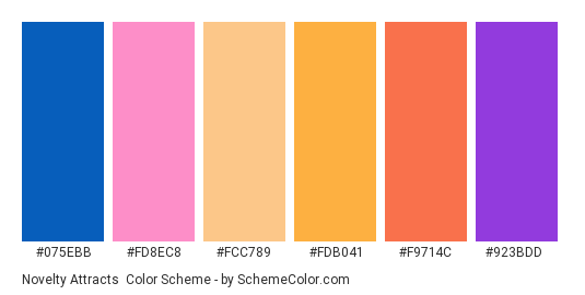 Novelty Attracts - Color scheme palette thumbnail - #075ebb #fd8ec8 #fcc789 #fdb041 #f9714c #923bdd