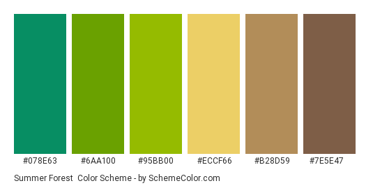 Summer Forest - Color scheme palette thumbnail - #078e63 #6aa100 #95bb00 #eccf66 #b28d59 #7e5e47