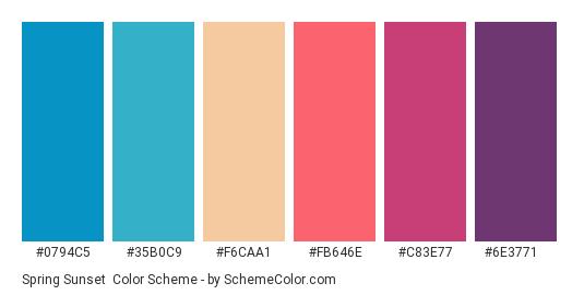 Spring Sunset - Color scheme palette thumbnail - #0794c5 #35b0c9 #f6caa1 #fb646e #c83e77 #6e3771
