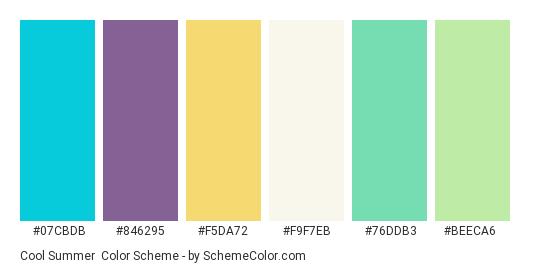Cool Summer - Color scheme palette thumbnail - #07cbdb #846295 #f5da72 #f9f7eb #76ddb3 #beeca6