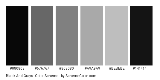 Black and Grays - Color scheme palette thumbnail - #080808 #676767 #808080 #a9a9a9 #bebebe #141414