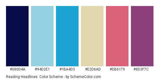 Reading Headlines - Color scheme palette thumbnail - #080d4a #94d2e1 #1ba4d3 #e2d6ad #db6179 #8d3f7c