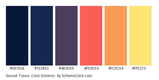Sunset Tones - Color scheme palette thumbnail - #08183A #152852 #4B3D60 #FD5E53 #FC9C54 #FFE373
