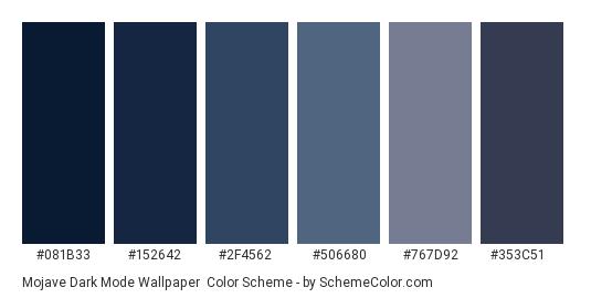 Mojave Dark Mode Wallpaper - Color scheme palette thumbnail - #081B33 #152642 #2F4562 #506680 #767D92 #353C51