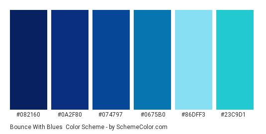 Bounce with Blues - Color scheme palette thumbnail - #082160 #0a2f80 #074797 #0675b0 #86dff3 #23c9d1