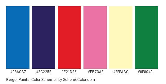 Berger Paints - Color scheme palette thumbnail - #086cb7 #2c225f #e21d26 #eb73a3 #fffabc #0f8040