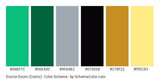 Doctor Doom (Comic) - Color scheme palette thumbnail - #08BF7C #00643D #9FA9B2 #070508 #C78F22 #FFEC83