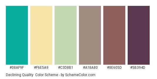 Declining Quality - Color scheme palette thumbnail - #08af9f #f6e5a9 #c3d8b1 #a18a80 #8e605d #5b394d