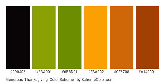 Generous Thanksgiving - Color scheme palette thumbnail - #090406 #8ba001 #6b8d01 #fba002 #cf6708 #a14000