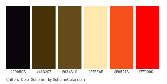 Critters - Color scheme palette thumbnail - #09050B #463207 #634B1C #FFE8AE #F6501B #FF0000