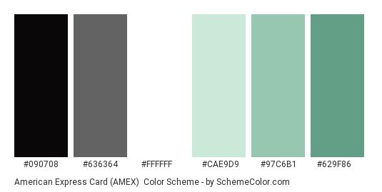 American Express Card (AMEX) - Color scheme palette thumbnail - #090708 #636364 #ffffff #cae9d9 #97c6b1 #629f86