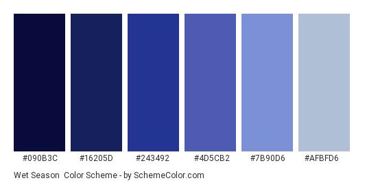 Wet Season - Color scheme palette thumbnail - #090B3C #16205D #243492 #4D5CB2 #7B90D6 #AFBFD6