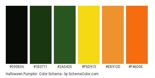 Halloween Pumpkin - Color scheme palette thumbnail - #090b06 #1b3711 #2a5420 #f5d913 #eb912d #f46d0e