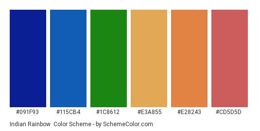 Indian Rainbow - Color scheme palette thumbnail - #091f93 #115cb4 #1c8612 #e3a855 #e28243 #cd5d5d