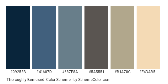 Thoroughly Bemused - Color scheme palette thumbnail - #09253B #41607D #687E8A #5a5551 #B1A78C #F4DAB5