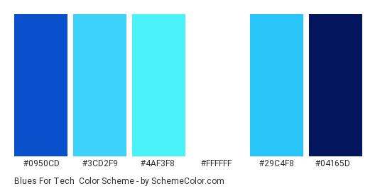 Blues for Tech - Color scheme palette thumbnail - #0950cd #3cd2f9 #4af3f8 #ffffff #29c4f8 #04165d