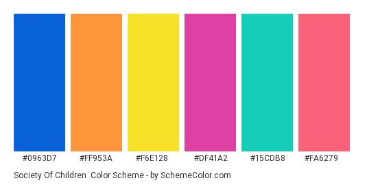 Society of Children - Color scheme palette thumbnail - #0963d7 #ff953a #f6e128 #df41a2 #15cdb8 #fa6279