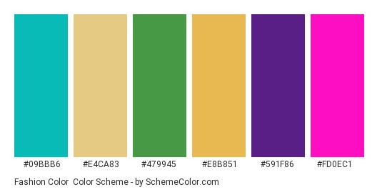 Fashion Color - Color scheme palette thumbnail - #09bbb6 #e4ca83 #479945 #e8b851 #591f86 #fd0ec1