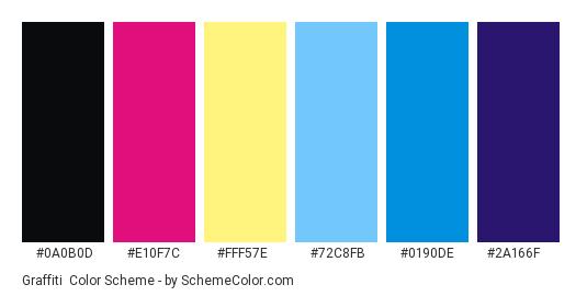 Graffiti - Color scheme palette thumbnail - #0A0B0D #E10F7C #FFF57E #72C8FB #0190DE #2A166F