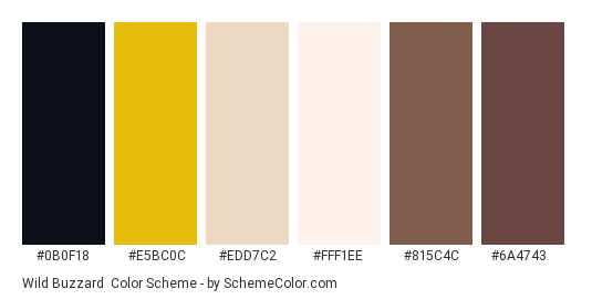 Wild Buzzard - Color scheme palette thumbnail - #0B0F18 #E5BC0C #EDD7C2 #FFF1EE #815C4C #6A4743