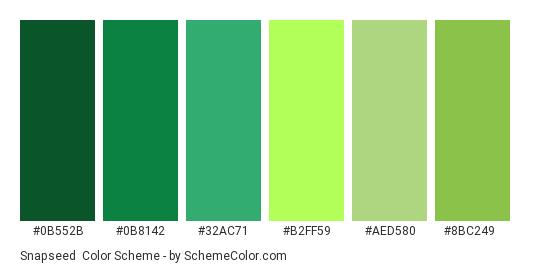 Snapseed - Color scheme palette thumbnail - #0B552B #0B8142 #32AC71 #B2FF59 #AED580 #8BC249