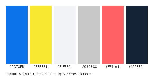 Flipkart Website - Color scheme palette thumbnail - #0C73EB #F8E831 #F1F3F6 #C8C8C8 #FF6164 #152336