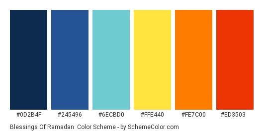 Blessings of Ramadan - Color scheme palette thumbnail - #0D2B4F #245496 #6ECBD0 #FFE440 #FE7C00 #ED3503