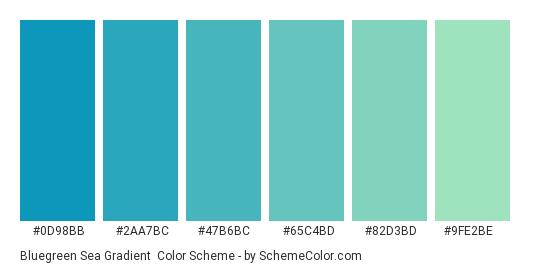 Bluegreen Sea Gradient - Color scheme palette thumbnail - #0D98BB #2AA7BC #47B6BC #65C4BD #82D3BD #9FE2BE
