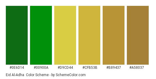 Eid al-Adha - Color scheme palette thumbnail - #0E6D14 #00900A #D9CD44 #CFB53B #B89437 #A58037