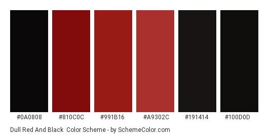 Dull Red and Black - Color scheme palette thumbnail - #0a0808 #810c0c #991b16 #a9302c #191414 #100d0d