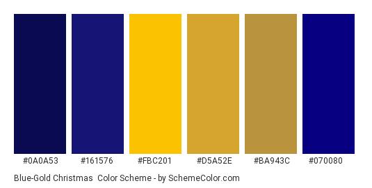 Blue-Gold Christmas - Color scheme palette thumbnail - #0a0a53 #161576 #fbc201 #d5a52e #ba943c #070080