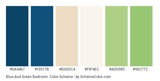Blue and Green Bedroom - Color scheme palette thumbnail - #0a4467 #10517b #edddc4 #f9f4ec #add085 #98c772