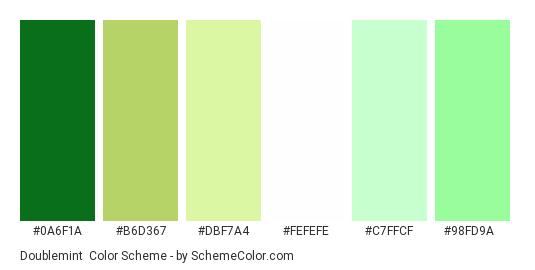 Doublemint - Color scheme palette thumbnail - #0a6f1a #b6d367 #dbf7a4 #fefefe #c7ffcf #98fd9a