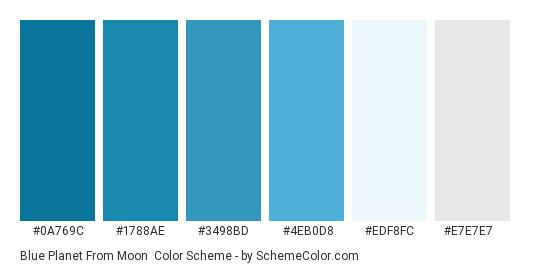 Blue Planet From Moon - Color scheme palette thumbnail - #0a769c #1788ae #3498bd #4eb0d8 #edf8fc #e7e7e7