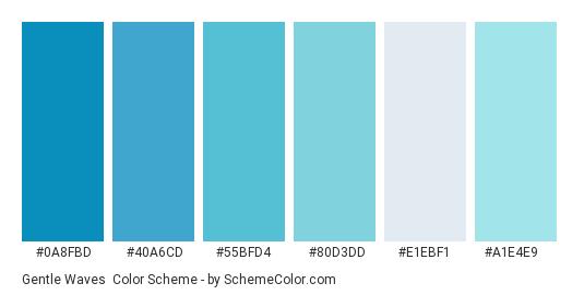 Gentle Waves - Color scheme palette thumbnail - #0a8fbd #40a6cd #55bfd4 #80d3dd #e1ebf1 #a1e4e9
