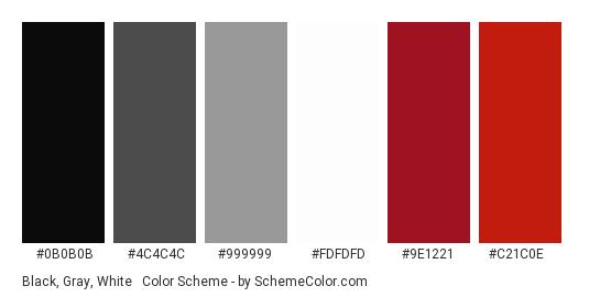 Black, Gray, White & Red - Color scheme palette thumbnail - #0b0b0b #4c4c4c #999999 #fdfdfd #9e1221 #c21c0e
