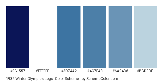 1932 Winter Olympics Logo - Color scheme palette thumbnail - #0b1557 #ffffff #3d74a2 #4c7fa8 #6a94b6 #bbd3df