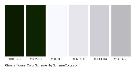 Ghosty Tones - Color scheme palette thumbnail - #0b1c00 #0e2300 #f8f8ff #e6e6ec #ceced4 #bababf