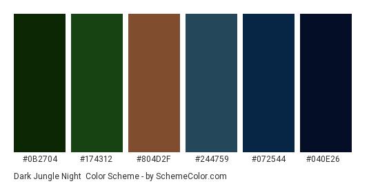 Dark Jungle Night - Color scheme palette thumbnail - #0b2704 #174312 #804d2f #244759 #072544 #040e26