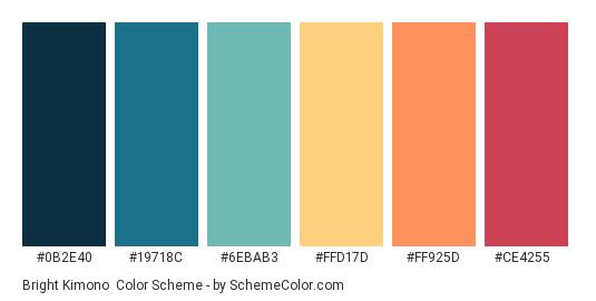 Bright Kimono - Color scheme palette thumbnail - #0b2e40 #19718c #6ebab3 #ffd17d #ff925d #ce4255