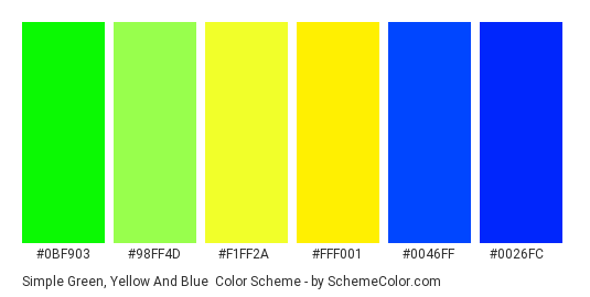 Simple Green, Yellow and Blue - Color scheme palette thumbnail - #0bf903 #98ff4d #f1ff2a #fff001 #0046ff #0026fc