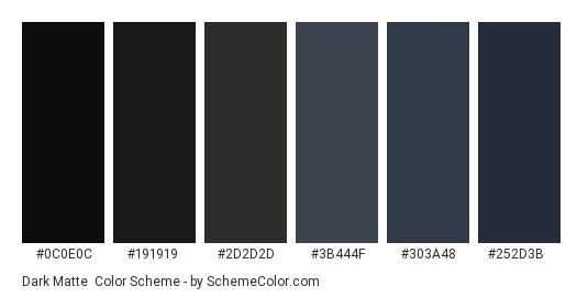 Dark Matte - Color scheme palette thumbnail - #0c0e0c #191919 #2d2d2d #3b444f #303a48 #252d3b