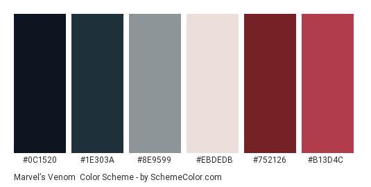 Marvel's Venom - Color scheme palette thumbnail - #0c1520 #1e303a #8e9599 #ebdedb #752126 #b13d4c