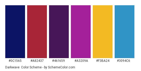 Darkwave - Color scheme palette thumbnail - #0c1565 #a82437 #461659 #a3209a #f3ba24 #3094c6