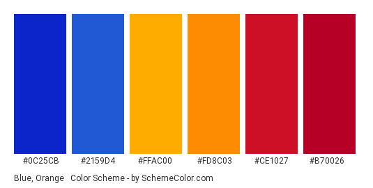 Blue, Orange & Red - Color scheme palette thumbnail - #0c25cb #2159d4 #ffac00 #fd8c03 #ce1027 #b70026
