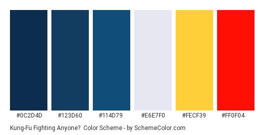 Kung-Fu Fighting Anyone? - Color scheme palette thumbnail - #0c2d4d #123d60 #114d79 #e6e7f0 #fecf39 #ff0f04