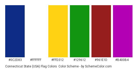 Connecticut State (USA) Flag Colors - Color scheme palette thumbnail - #0c2d83 #ffffff #ffd312 #129612 #961e1d #b400b4