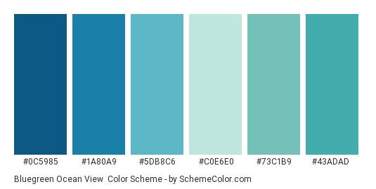 Bluegreen Ocean View - Color scheme palette thumbnail - #0c5985 #1a80a9 #5db8c6 #c0e6e0 #73c1b9 #43adad