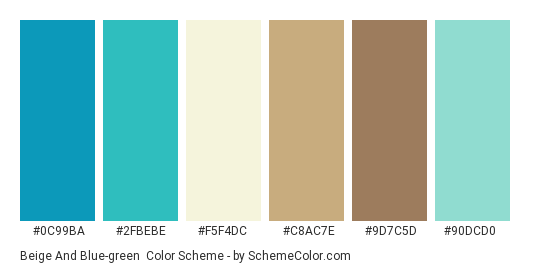 Beige and Blue-green - Color scheme palette thumbnail - #0c99ba #2fbebe #f5f4dc #c8ac7e #9d7c5d #90dcd0