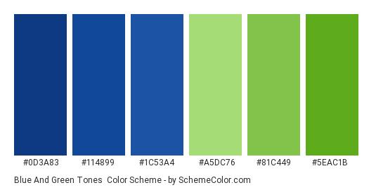 Blue and Green Tones - Color scheme palette thumbnail - #0d3a83 #114899 #1c53a4 #a5dc76 #81c449 #5eac1b